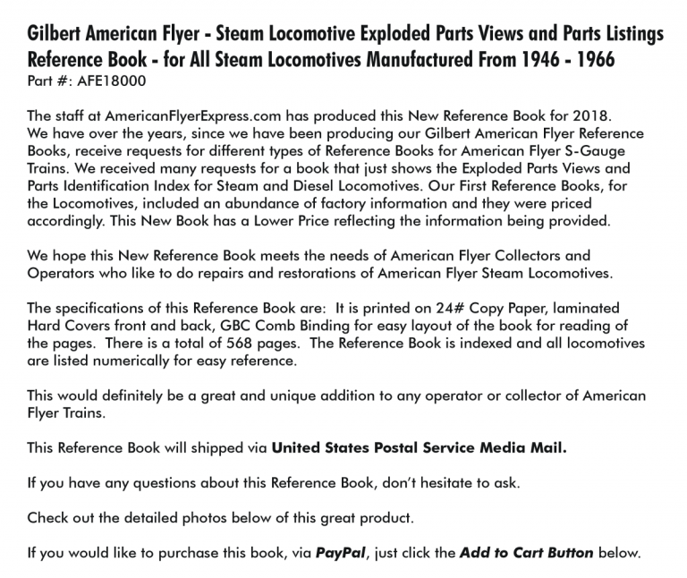 American Flyer Express - Steam Book Details AFE18000,