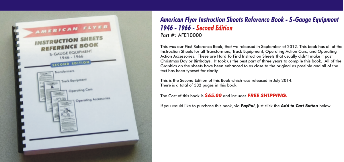 American Flyer - Instruction Sheets Reference Book S-Gauge Equipment, 1946-1966, Second Edition, AFE10000