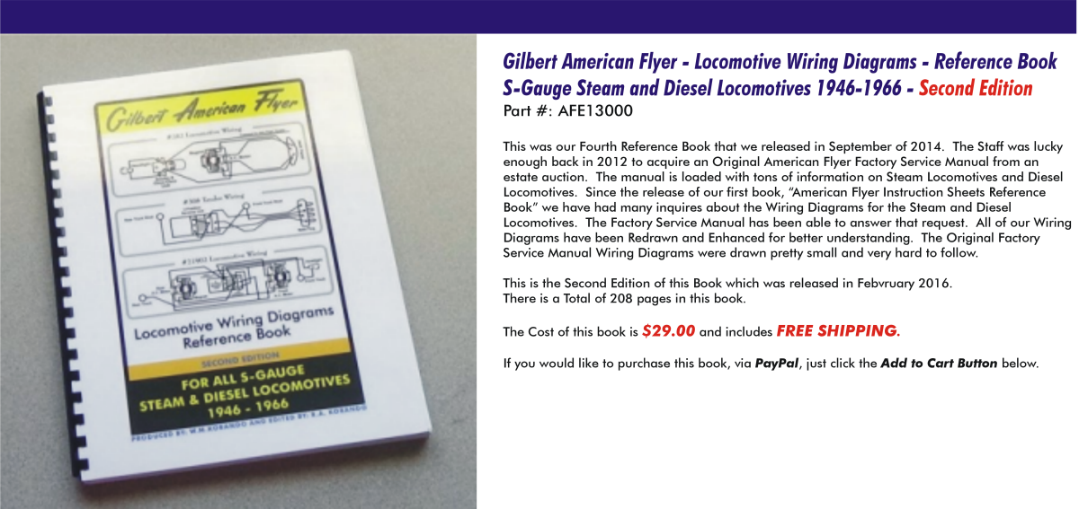 Gilbert American Flyer - Locomotive Wiring Diagrams - Reference Book S-Gauge Steam and Diesel Locomotives 1946-1966,  AFE13000