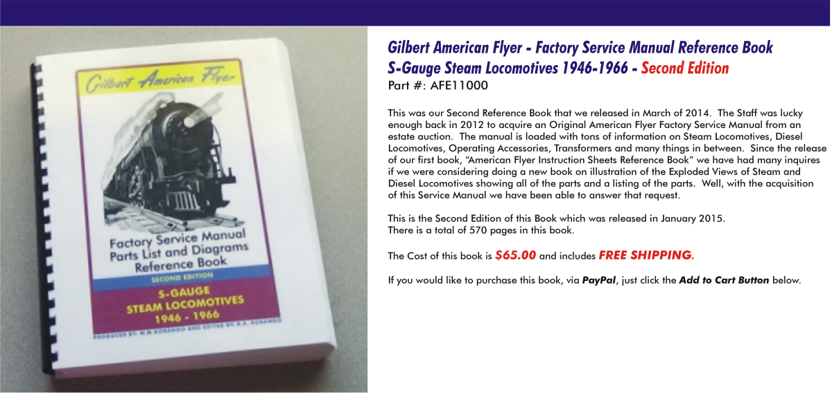 Gilbert American Flyer - Factory Service Manual Reference Book S-Gauge Steam Locomotives 1946-1966,  Second Edition, AFE11000
