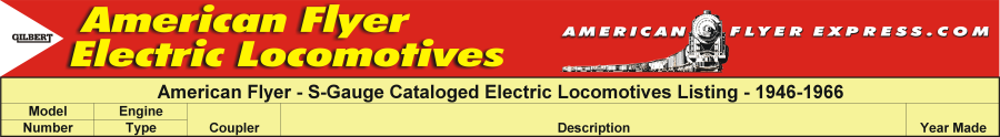 American Flyer Products Directory - Electric Locomotives