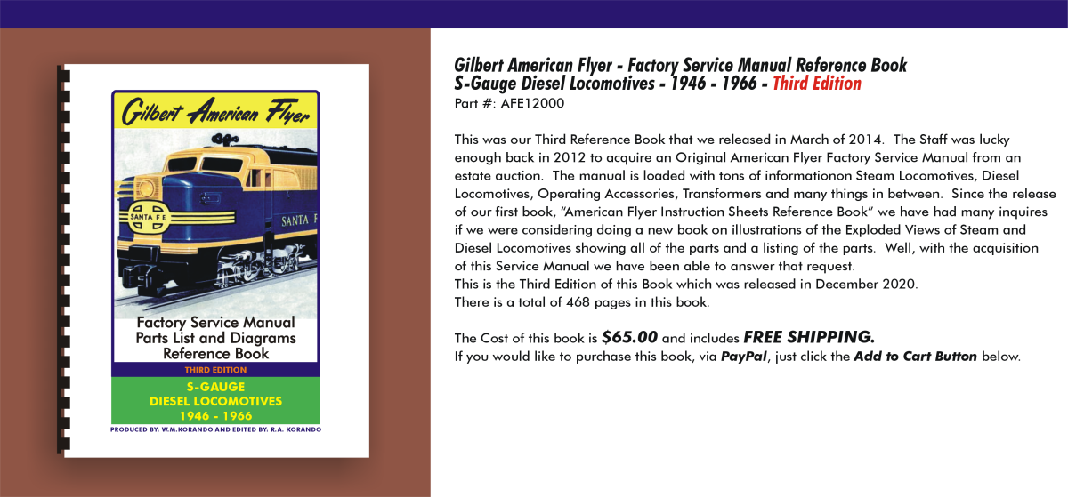 Gilbert American Flyer - Factory Service Manual Reference Book S-Gauge Diesel Locomotives 1946-1966,  Third Edition, AFE12000