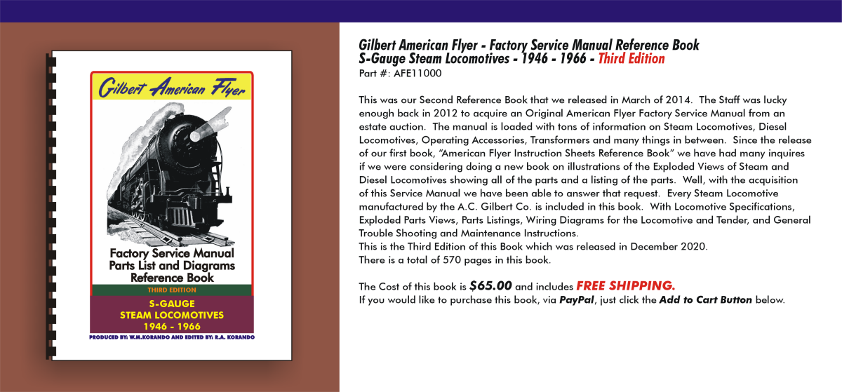 Gilbert American Flyer - Factory Service Manual Reference Book S-Gauge Steam Locomotives 1946-1966,  Third Edition, AFE11000