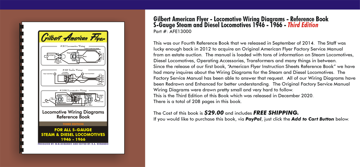 Gilbert American Flyer - Locomotive Wiring Diagrams - Reference Book S-Gauge Steam and Diesel Locomotives 1946-1966,  AFE13000